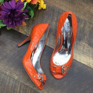 Guess open toe buckle, orange patent leather heels